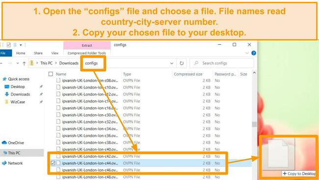 Screenshot showing desktop with zip file open and a file highlighted.