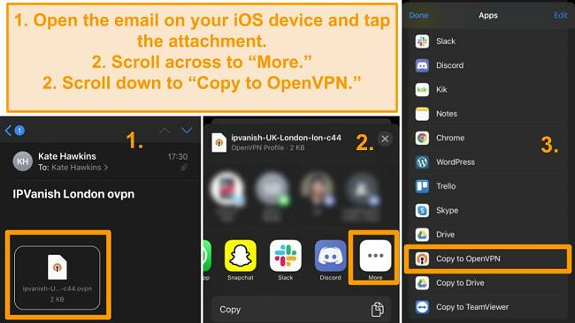 Screenshots of IPVanish on iPhone, sending a file from email to iPhone OpenVPN app.