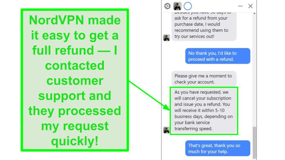 Screenshot of NordVPN live chat, with customer support agent processing a refund.