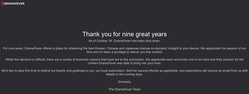 DramaFever out of business
