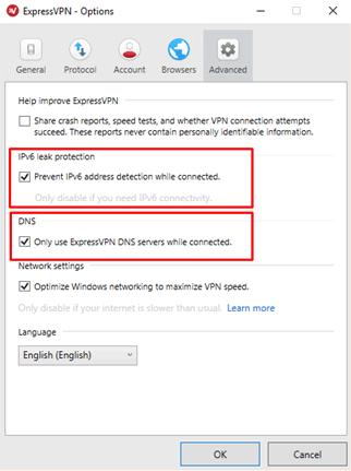 ExpressVPN leak protection
