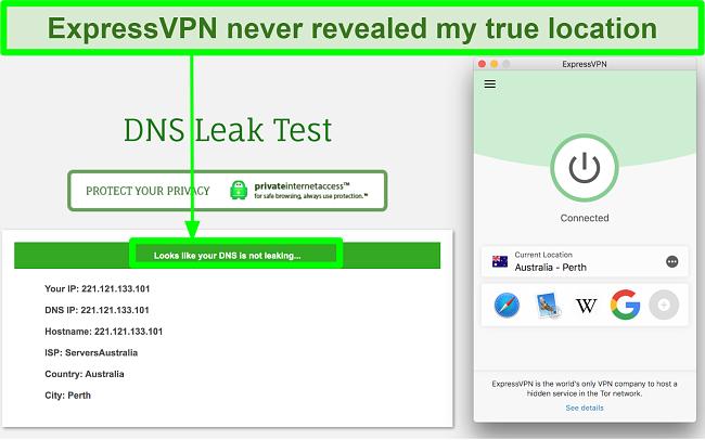 Screenshot showing that ExpressVPN passed DNS leak test
