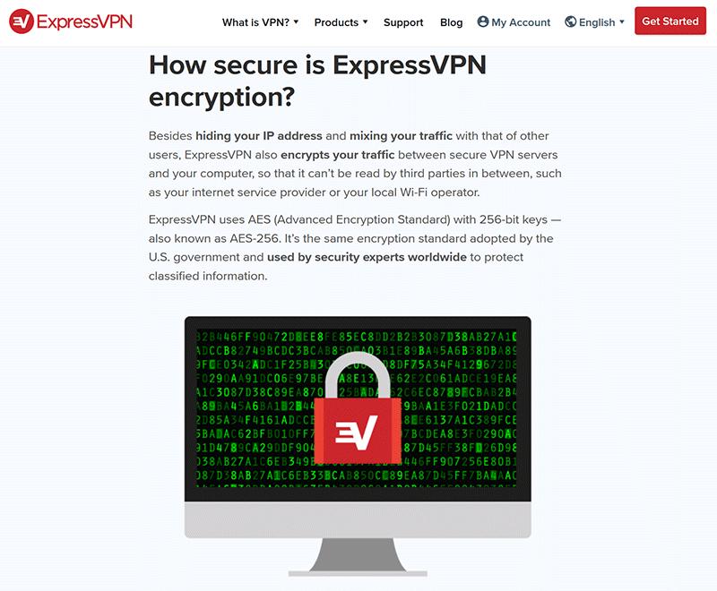 ExpressVPN AES-256 encryption