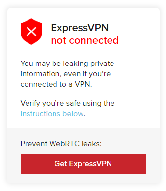 ExpressVPN WebRTC leak test