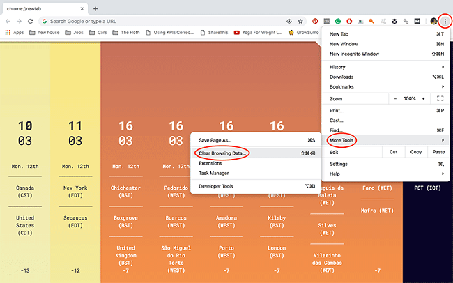 Google Chrome clear cookies mac