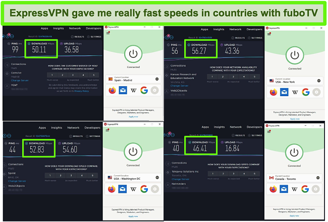Screenshot of 4 speed tests while ExpressVPN is connected to servers in the US, Canada, and Spain