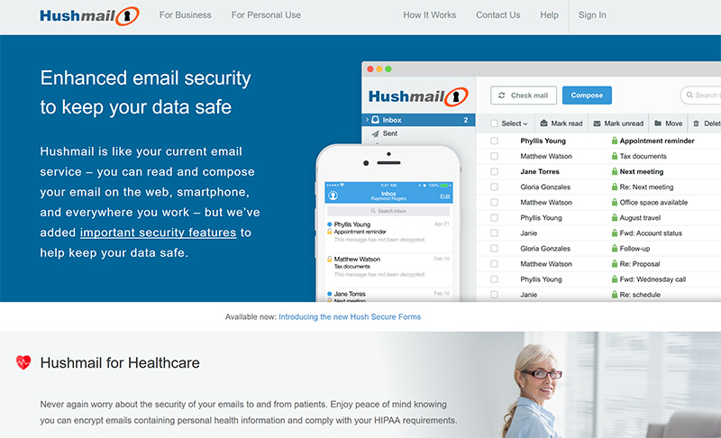 Hushmail email secure vpn solution
