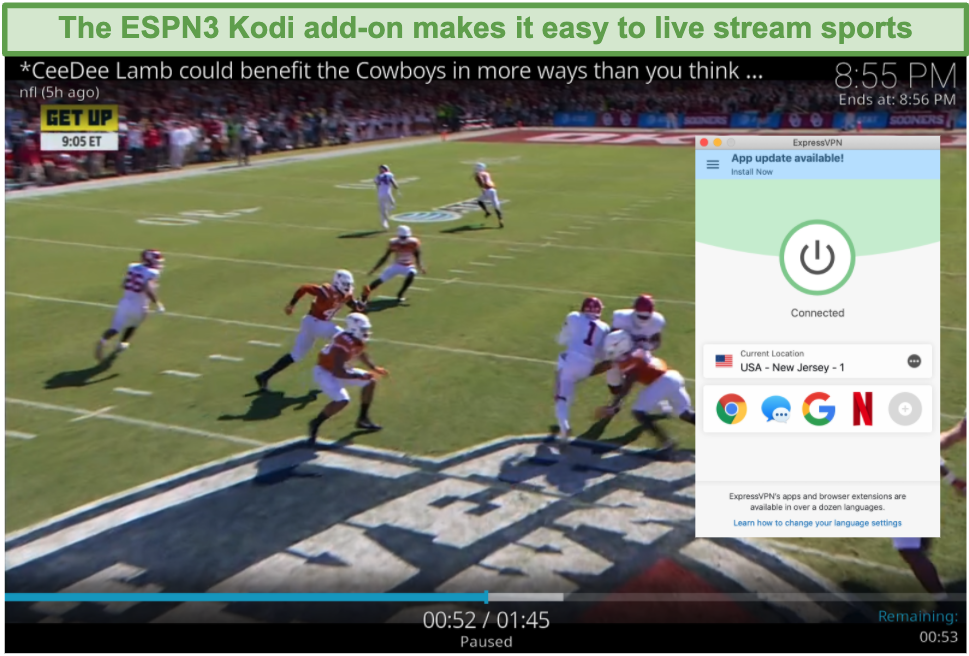 Screenshot of streaming football on ESPN3 with Kodi