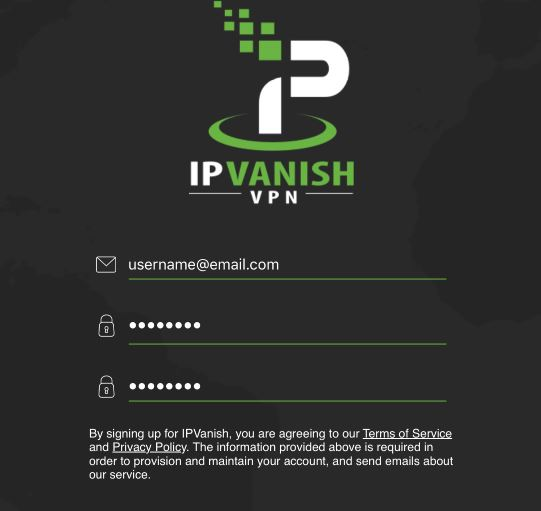 IPVanish sign up page