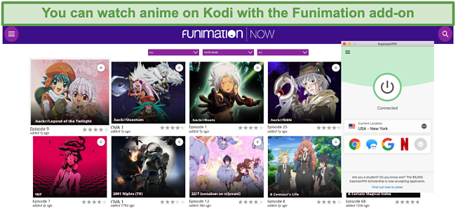 Screenshot of available FunimationNOW content on Kodi