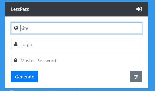 LessPass unique password
