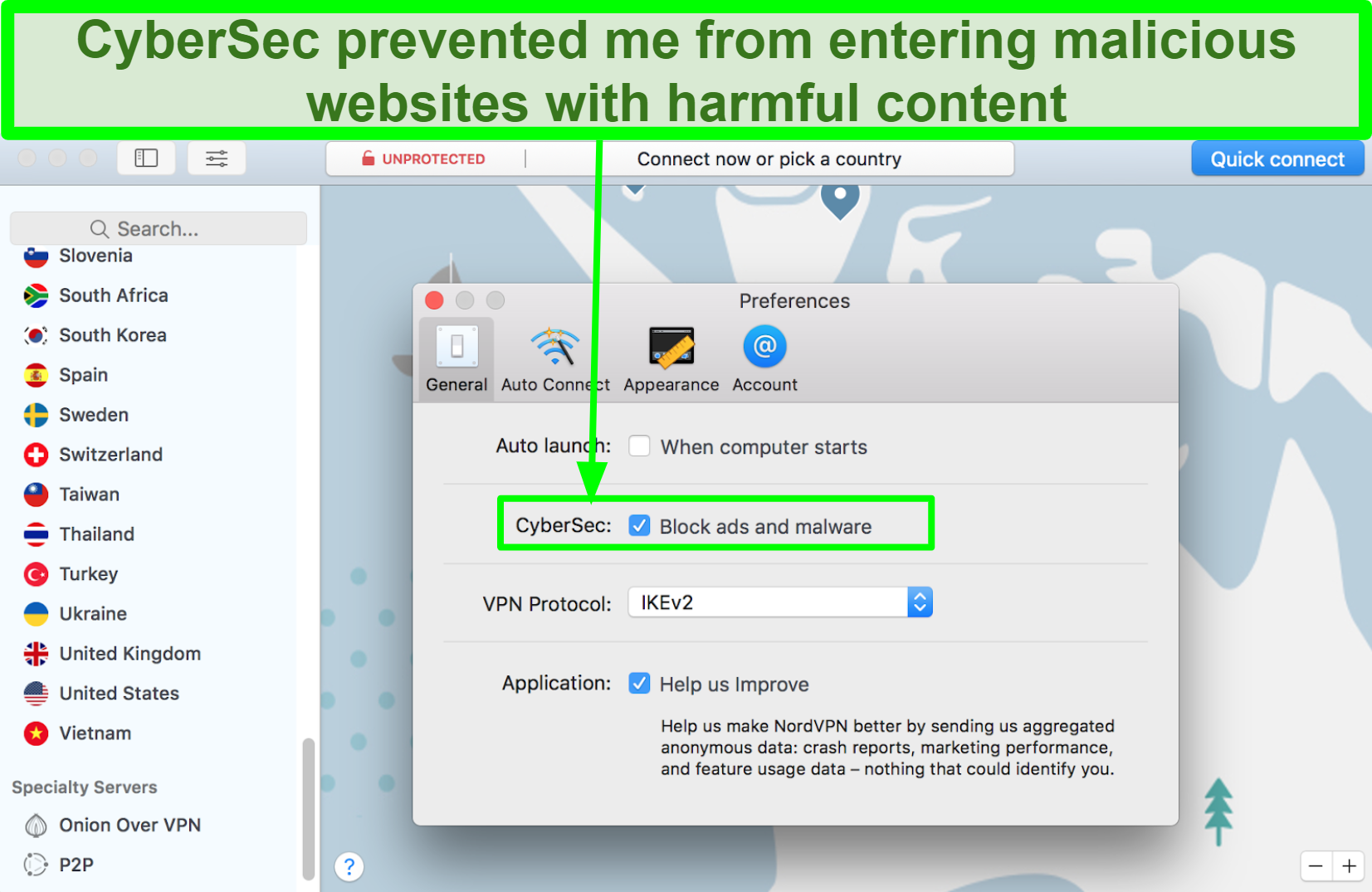 Screenshot of NordVPN interface showing it has a malware blocker