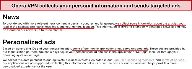 Screenshot of Opera VPN privacy policy showing it logs users' personal information and sends targeted ads.
