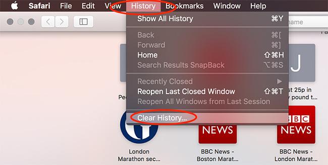 Safari MacOS clear history