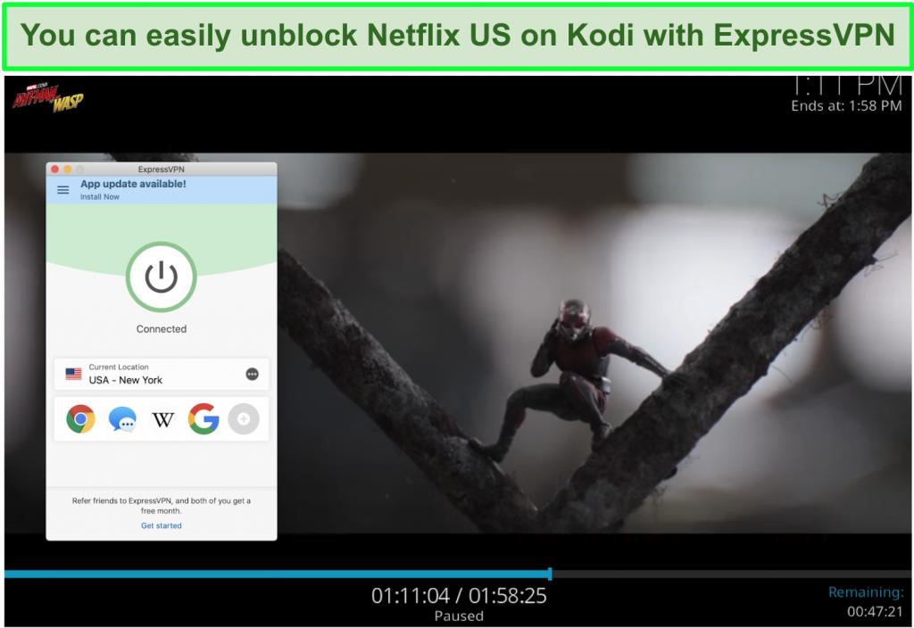 screenshot of Ant-man vs Wasp on Netflix US through Kodi