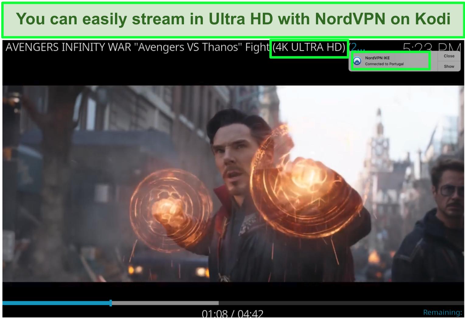 Screenshot of Avengers Infinity War on YouTube in 4K playing via NordVPN