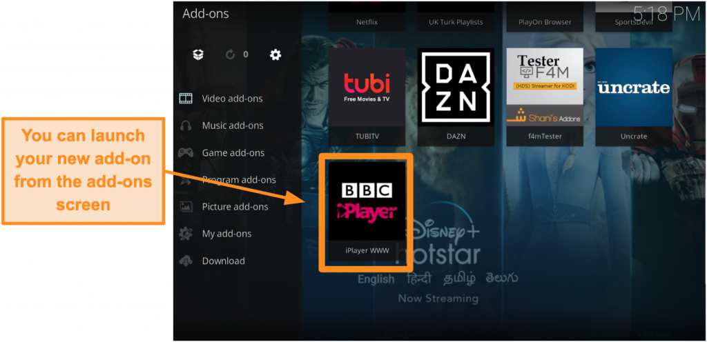 screenshot-of-how-to-install-official-kodi-addon-step-eleven-launch-new-addon-from-homepage