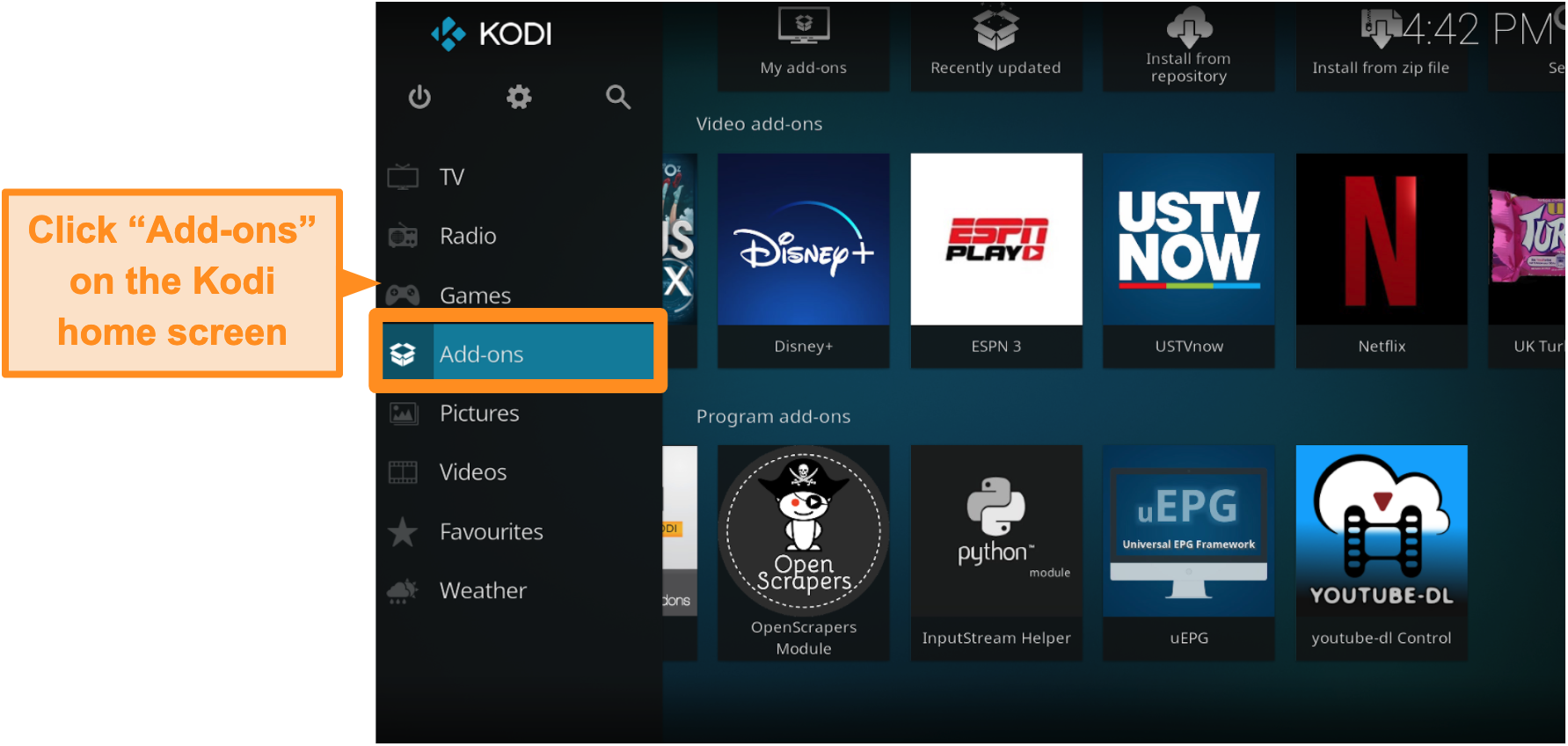 screenshot-of-how-to-install-official-kodi-addon-step-two-click-addons