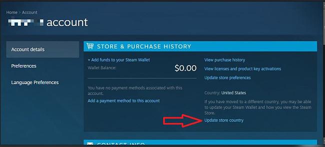 Steam'de ülke mağazasını güncelle