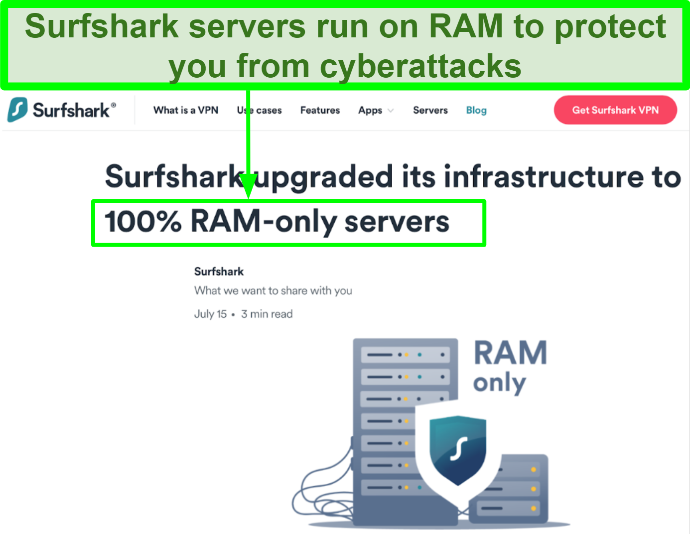 Screenshot of Surfshark website showing that all servers run on RAM