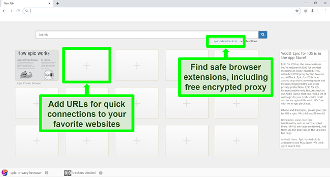 Screenshot of Epic Privacy Browser homepage with features highlighted