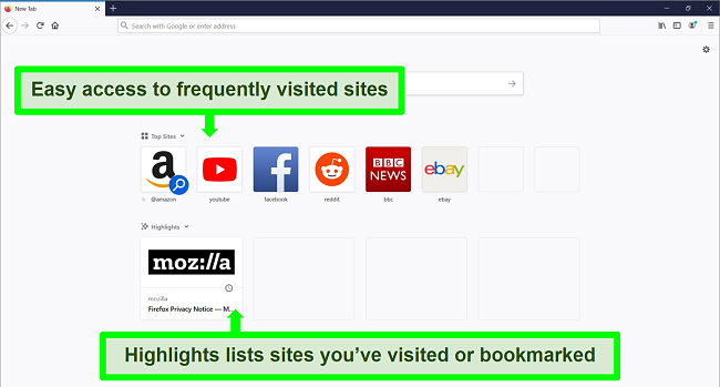 Screenshot of Firefox's homepage with features highlighted