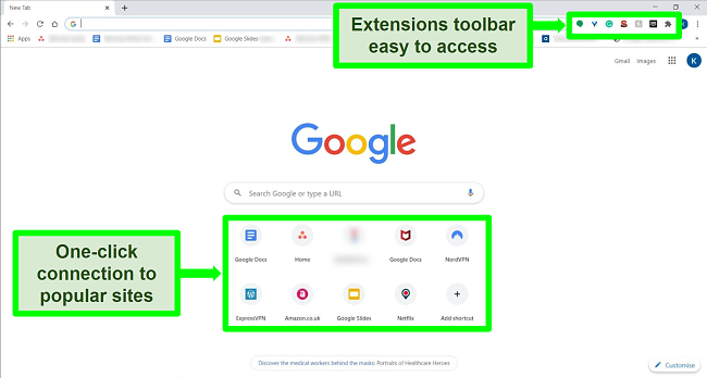 Screenshot of Google Chrome homepage with some features highlighted