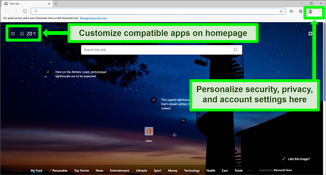 Screenshot of Microsoft Edge homepage with some features highlighted