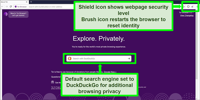 Screenshot of Tor Browser homepage with icons and search engine features highlighted