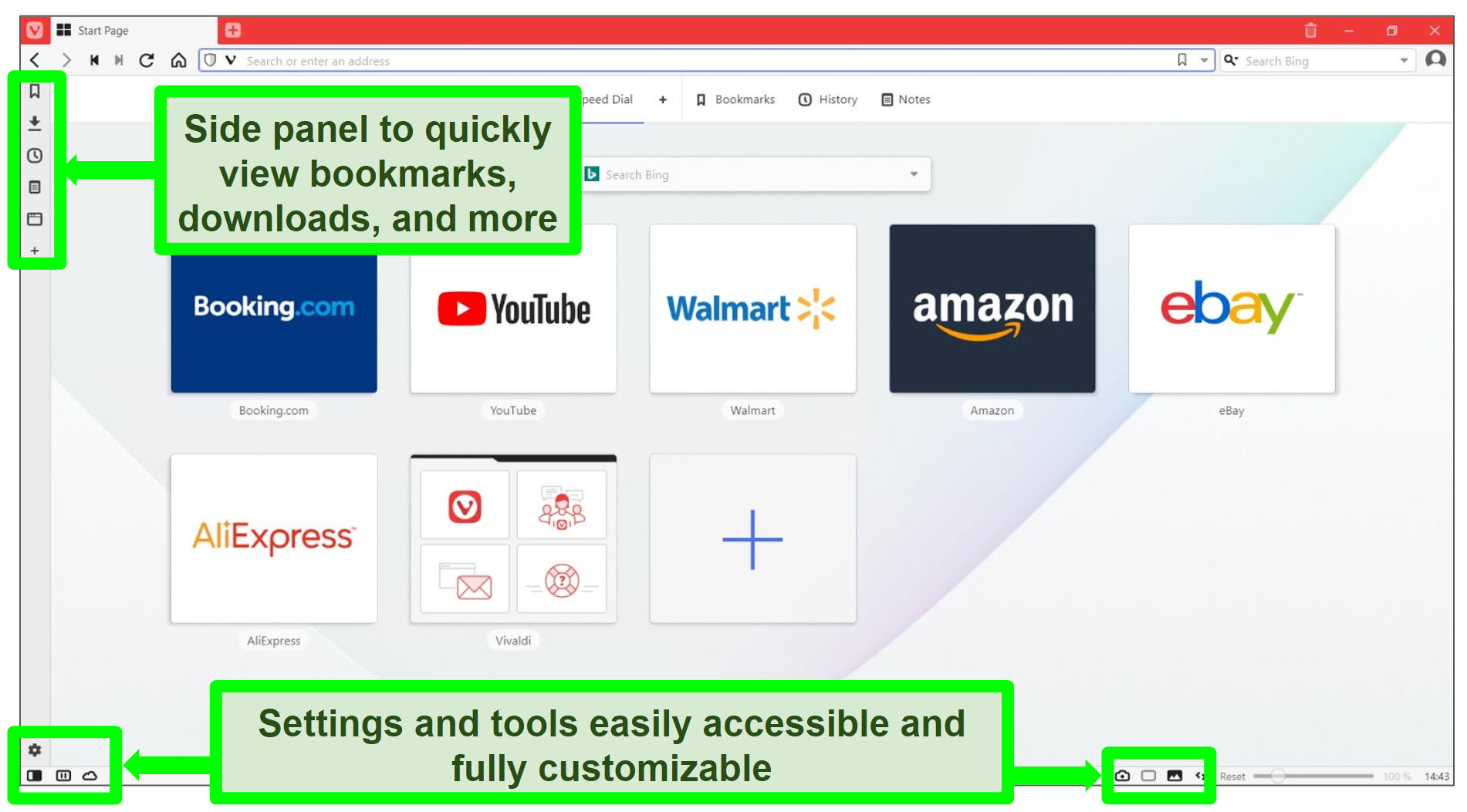Screenshot of Vivaldi homepage with some features highlighted and annotated