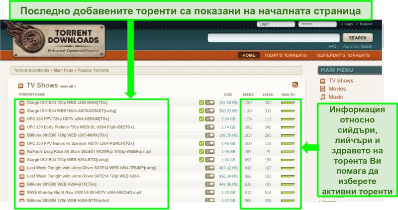 Екранна снимка на TorrentDownloads целевата страница