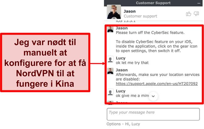 Skærmbillede af chat med NordVPN, der beder om råd om, hvordan man får appen til at arbejde i Kina