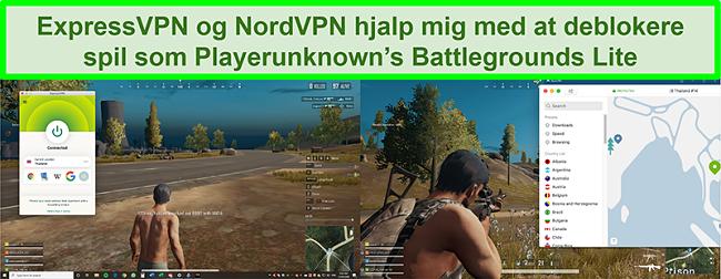Sammenligning skærmbilleder af en bruger, der spiller PlayUnknown's Battlegrounds Lite, mens den er tilsluttet henholdsvis ExpressVPN og NordVPN