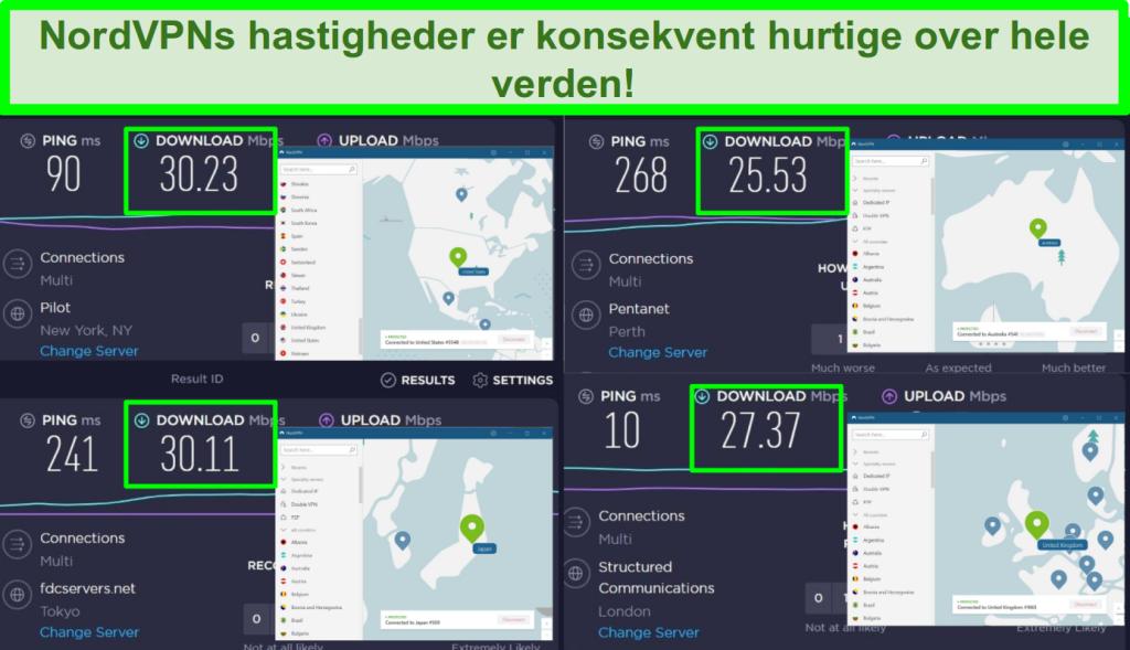 Screenshots, der viser Ookla-hastighedstest med NordVPN forbundet til 4 forskellige servere