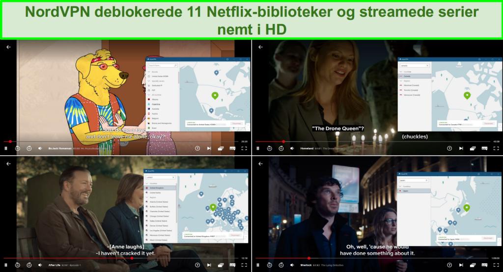 Screenshots af NordVPN, der fjerner blokering af Netflix USA, Storbritannien, Japan og Canada