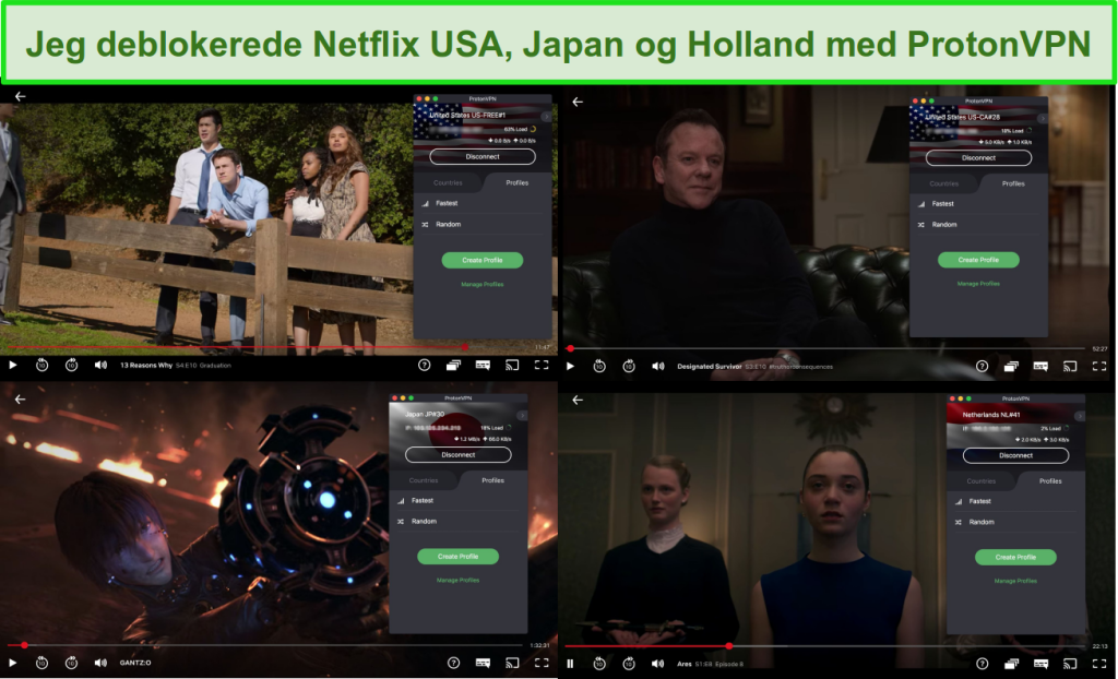 Skærmbilleder af ProtonVPN, der får adgang til Netflix USA, Japan og Holland