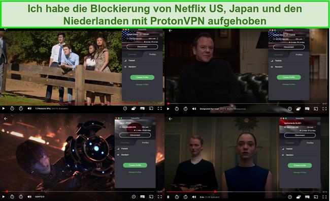 Screenshots von ProtonVPN beim Zugriff auf Netflix in den USA, Japan und den Niederlanden