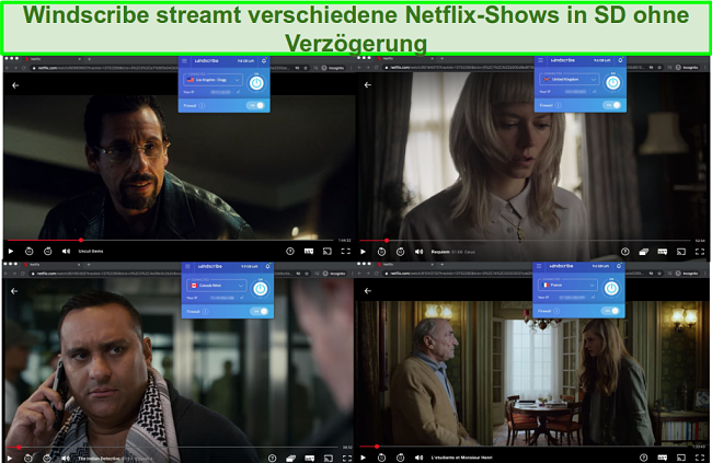 Screenshots von Windscribe beim Zugriff auf Netflix USA, Großbritannien, Kanada und Frankreich