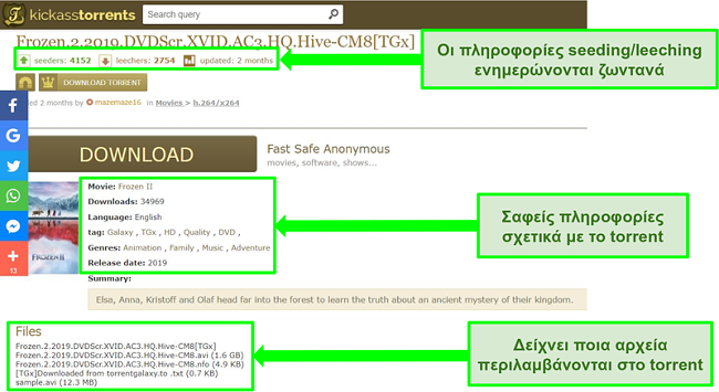 Στιγμιότυπο οθόνης της σελίδας λήψης Kickass Torrents