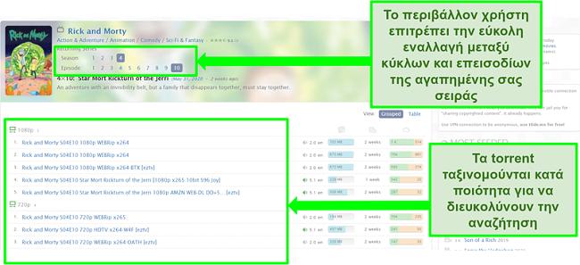 Στιγμιότυπο οθόνης της σελίδας προορισμού Zooqle