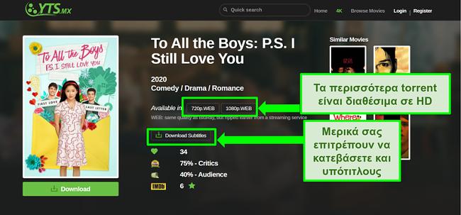 Στιγμιότυπο οθόνης της σελίδας προορισμού YTS