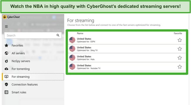 Screenshot of connecting to CyberGhost streaming servers to watch NBA online.