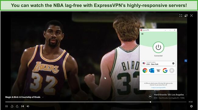 Screenshot of ExpressVPN unblocking Hulu US and playing Magic & Bird: A Courtship of Rivals.