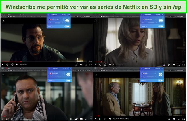 Capturas de pantalla de Windscribe accediendo a Netflix en EE. UU., Reino Unido, Canadá y Francia