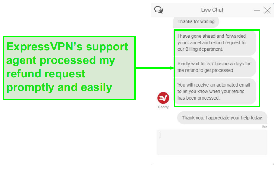 ExpressVPN customer support handled my refund request