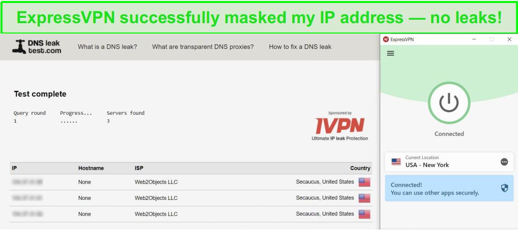 ExpressVPN passed DNS-leak test