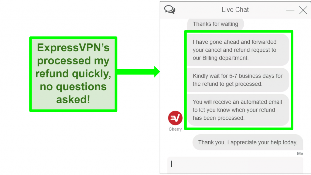 Screenshot of ExpressVPN live chat refund being processed