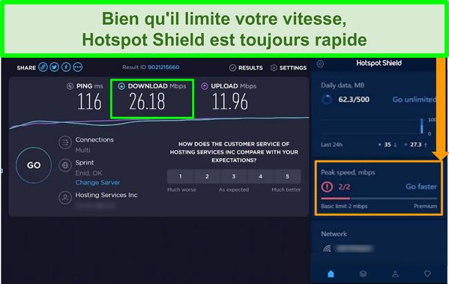 Capture d'écran des résultats du test de vitesse lors de la connexion à l'interface Hotspot Shield