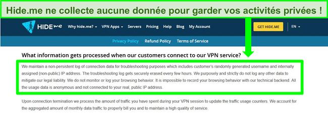 Capture d'écran de la politique de confidentialité de Hide.me montrant qu'aucun journal de données n'est conservé