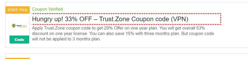 Fake Trust Zone coupon - what you get